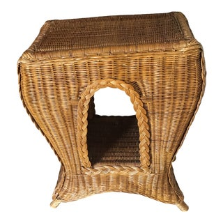 McGuire Style Bamboo Rattan Table Nightstand Plant Stand For Sale