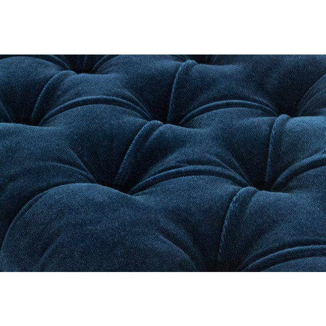 Mid-Century Modern Tufted Benches in Deep Blue Mohair (Pair Available) For Sale - Image 3 of 12
