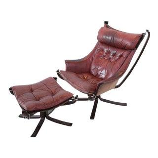Burgundy Falcon Chair & Ottoman For Sale