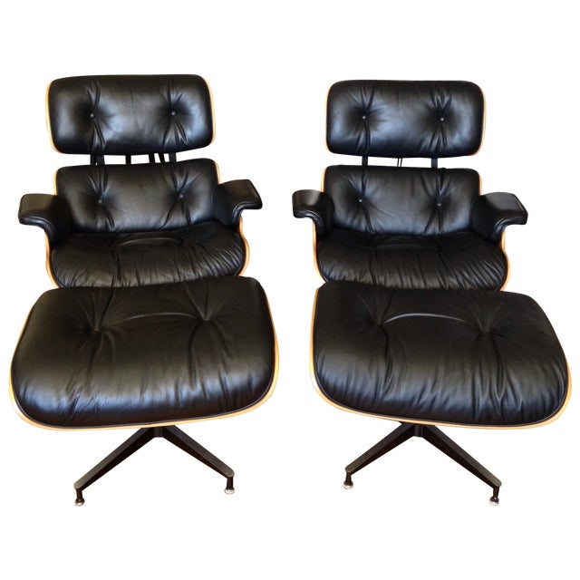 Eames 670 Lounge Chairs & 671 Ottomans - a Pair - Image 1 of 11