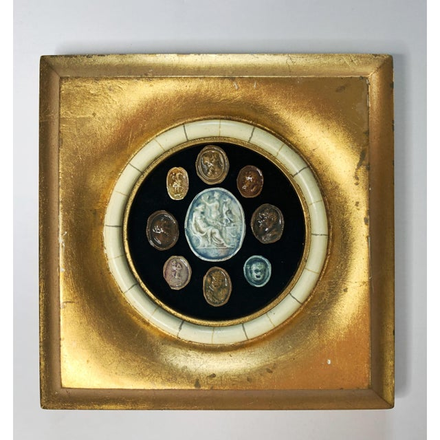 Gold 18th Century Grand Tour Glazed Cameos in Gilded Frame For Sale - Image 8 of 8