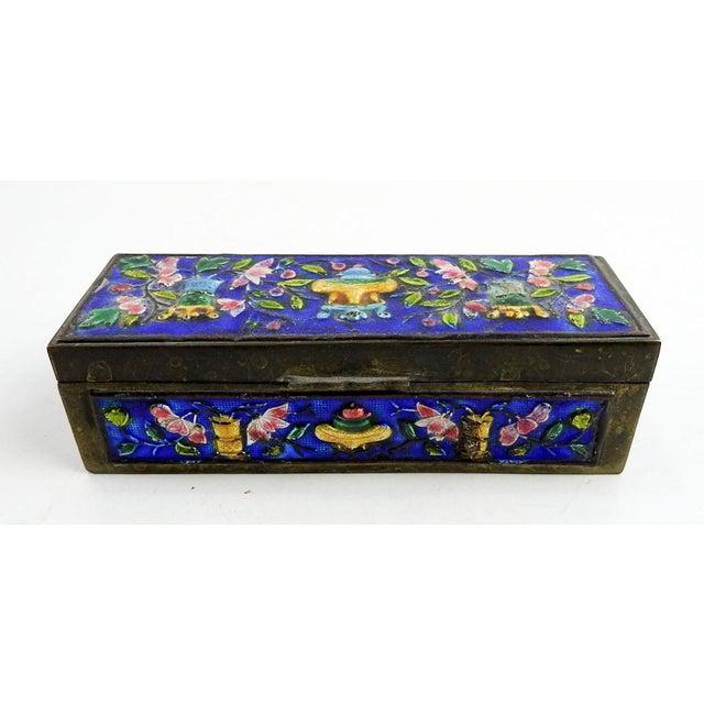 Metal Vintage Chinese Enamel Box For Sale - Image 7 of 7