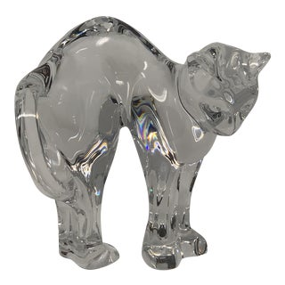 Vintage Baccarat Crystal Cat With Arched Back For Sale