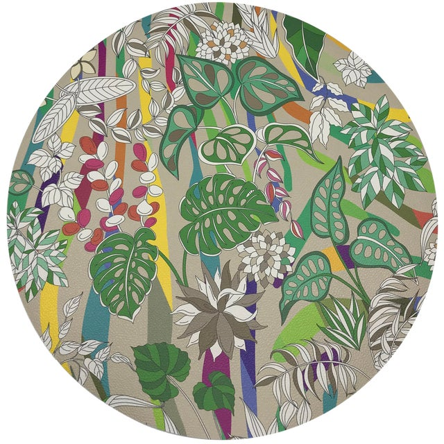 "Nicolette Mayer Sabi Jungle Beige 16"" Round Pebble Placemats, Set of 4 For Sale"