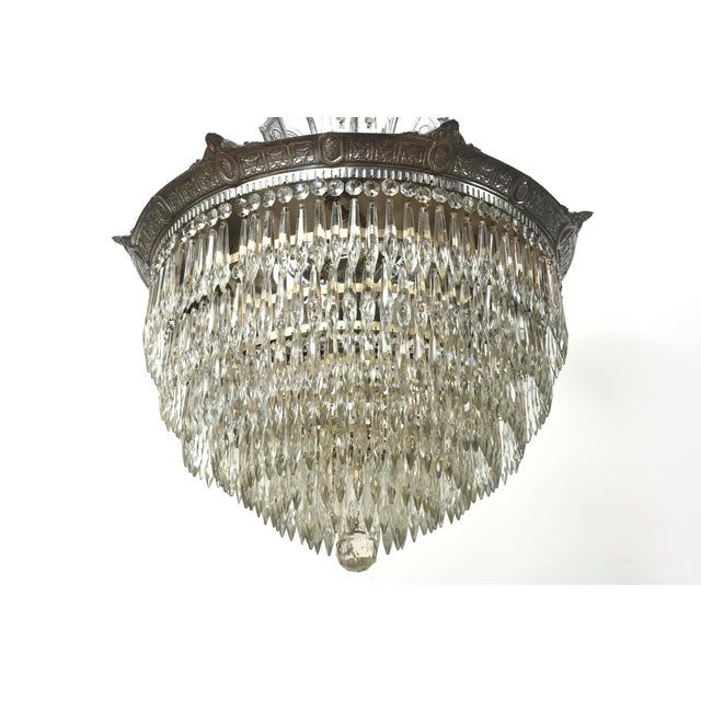 Art Deco Tiered Crystal Four Light Fixture For Sale - Image 3 of 11
