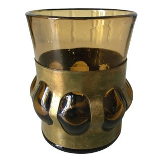 Mid-Century Felipe Derflingher Amber Glass Vase For Sale