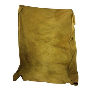 "Antique French Dyed Gold Chartreuse Linen Sheet Heavy Throw - 92"" X 83"" For Sale"
