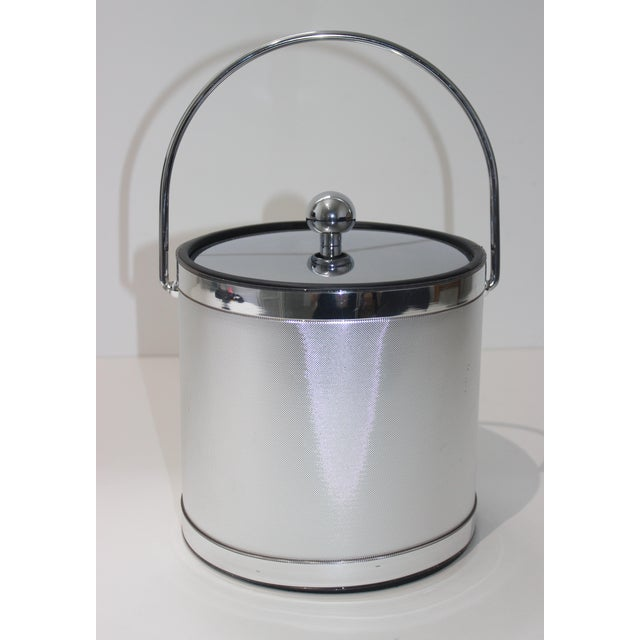 Vintage Ice Bucket Polished Stainless Steel and Mylar For Sale - Image 4 of 12