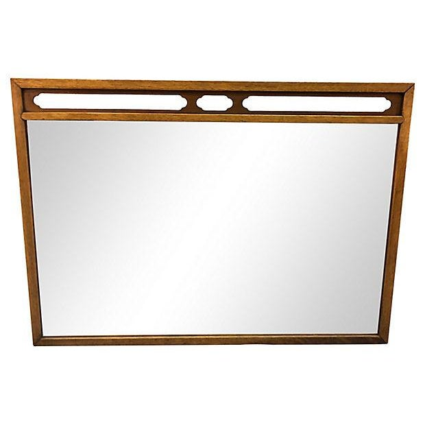 Brown Drexel Compass Pecan Wood Wall Mirror For Sale - Image 8 of 8