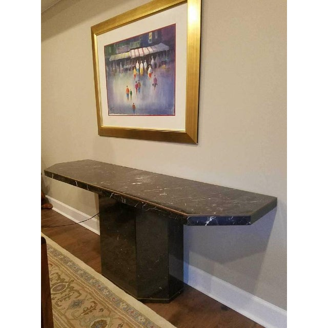 Marble With Brass Inlay Console Table - Image 5 of 9