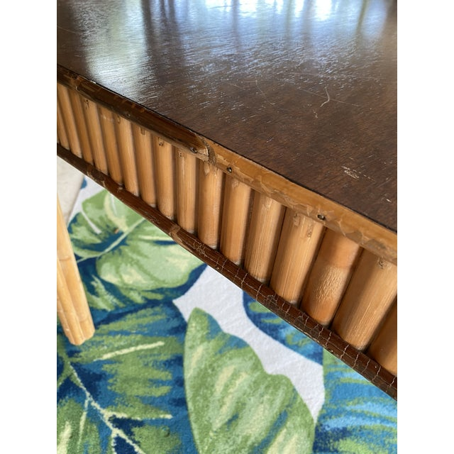 Wood Vintage Split Bamboo Table For Sale - Image 7 of 13