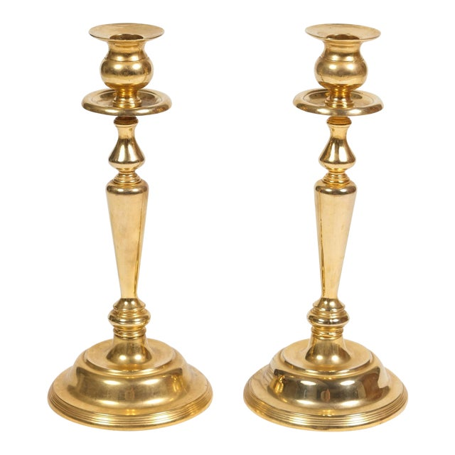 Pair of Polished Brass Candlesticks For Sale