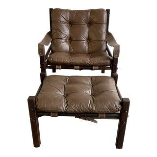 Vintage Safari Lounge Chair and Ottoman For Sale