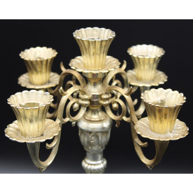 1960s Italian Five Branch Candelabra (Pair Available) For Sale - Image 5 of 9