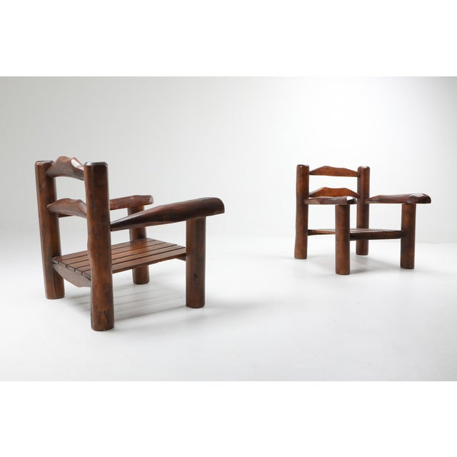 1950s 1950s Rustic Wooden Wabi Sabi Lounge Chairs For Sale - Image 5 of 11
