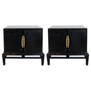 Mid-Century Modern Brutalist Polished Brass and Ebonized Walnut Nightstands - a Pair For Sale