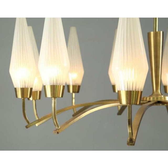 Large Twelve-Arm Brass with Opaline Glass Chandelier, Italy, 1950s - Image 6 of 7