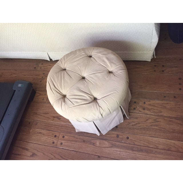 Round Fabric Ottoman - Image 6 of 8