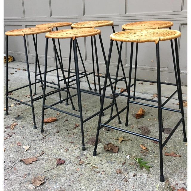 1960s Vintage Danny Ho Fong Iron and Wicker Bar Stools - Set of 6 For Sale In Atlanta - Image 6 of 11