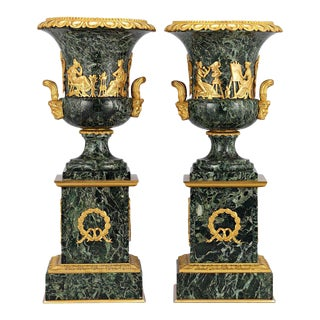 Pair of French Empire Style Marble Urns For Sale