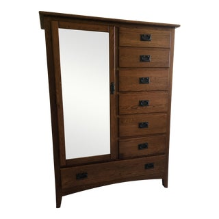 Mission Style Dresser With Mirror Cabinet