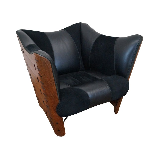 Brazilian Walnut Wing Lounge Chair - Image 1 of 10