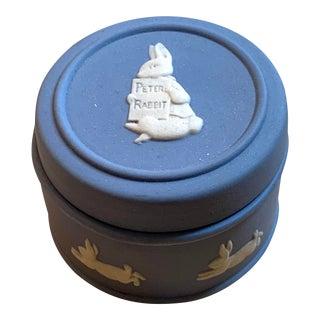 Wedgwood Peter Rabbit Jasperware Blue Trinket Box For Sale