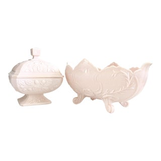 1950's Traditional American Pink Milk Glass Candy Dish & Footed Bowl - 3 Piece Set