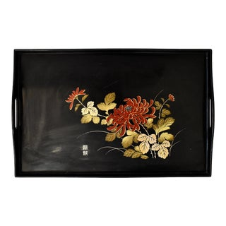 Mid-Century Japanese Black Lacquer Tray For Sale
