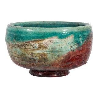 Vintage Studio Art Pottery Turquoise Raku Glazed Bowl For Sale