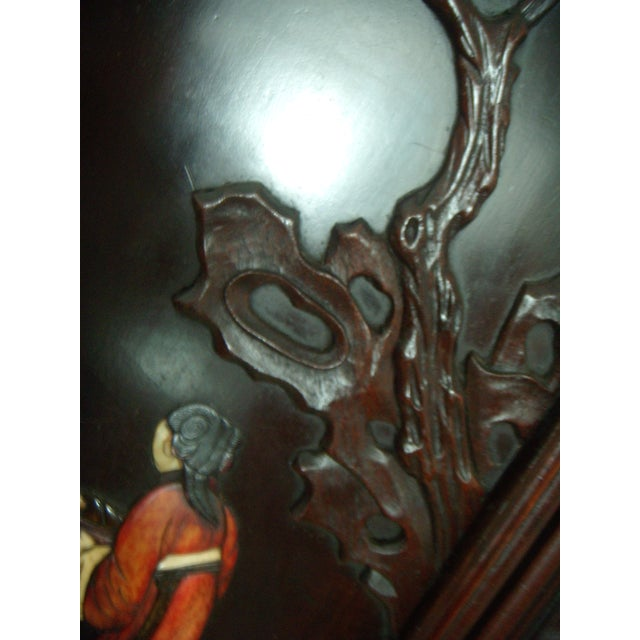Antique Chinese Four Panel Room Divider or Screen of the Four Seasons With Calligraphy For Sale In Tampa - Image 6 of 11