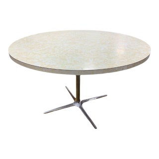 Mid Century Modern Round Formica + Chrome Dining Table For Sale