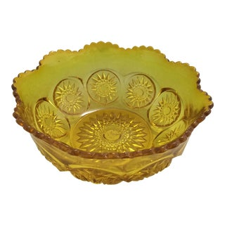 Vintage Amber Carnival Glass Sunflower Design Bowl For Sale