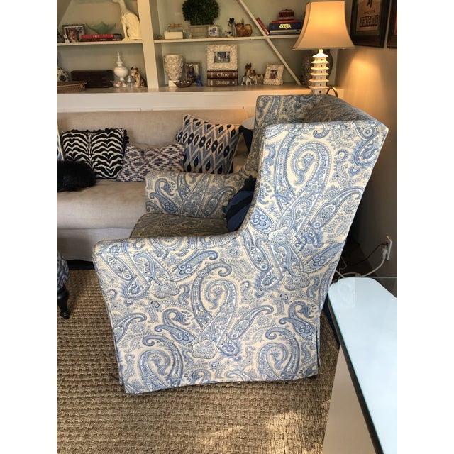 Ralph Lauren Blue Paisley Custom Upholstered Hickory White Club Chair For Sale In Los Angeles - Image 6 of 10
