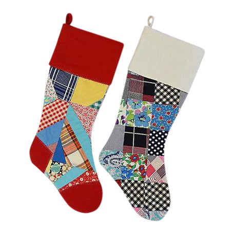 """Large 22"""" Custom Tailored Patchwork Quilt Christmas Stockings - Pair For Sale"""