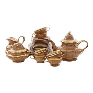 Early 20th Century English Victorian Porcelain Tea Set-Set of 23 For Sale