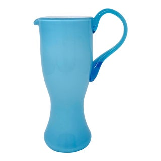 1960's Italian Blue Cased Hand Blown Glass Pitcher For Sale