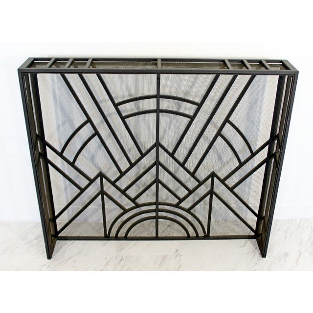 Neo Art Deco Wrought Iron Metal Fireplace Screen For Sale - Image 4 of 5