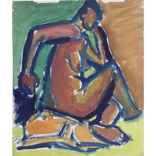 """Bay Area Figurative Painting """"Curled"""" Sf Artist 1940-50s For Sale"""