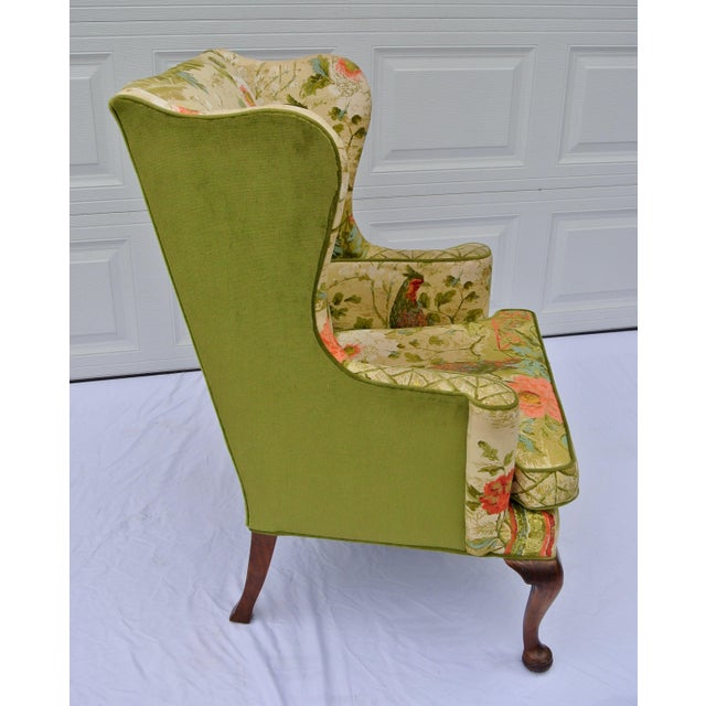 Vintage Mid Century Botanical Print Wingback Chair For Sale In Wichita - Image 6 of 13