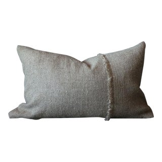 Natural Linen Fringe Lumbar Pillow Cover For Sale