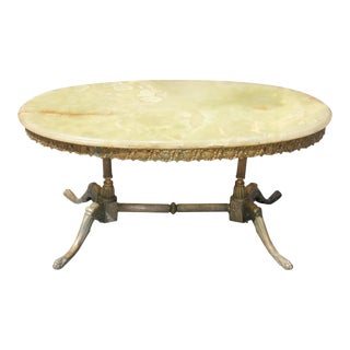 1940s Maison Jansen Art Deco Oval Coffee Table For Sale