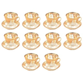 10 Sets (20 Pieces) of Antique Gilded Glass Tea Cup and Saucers For Sale