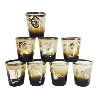 Vintage Mexican Silver Creature Cocktail Tumblers - Set of 8 For Sale