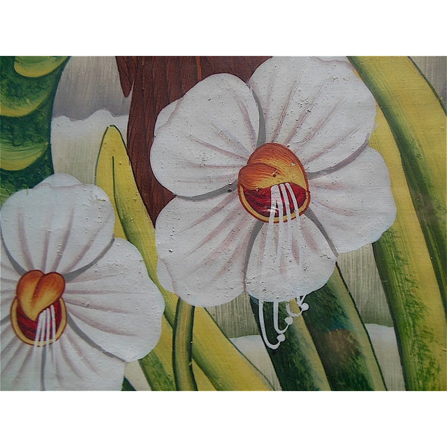 Mid 20th Century Large Vintage Signed Asian Painting-Tropical Scene For Sale - Image 5 of 8
