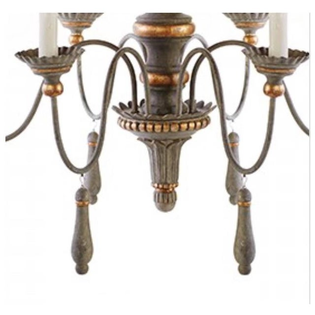 Two chic six-arm chandeliers in lovely french grey finish, gilt accents. Newly wired and ready for installation. Priced...