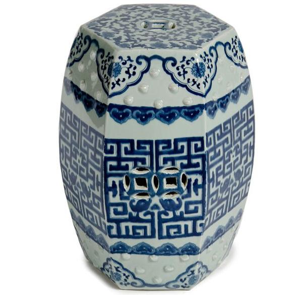 Asian Asian Modern Blue U0026 White Porcelain Hexagonal Garden Stool For Sale    Image 3 Of