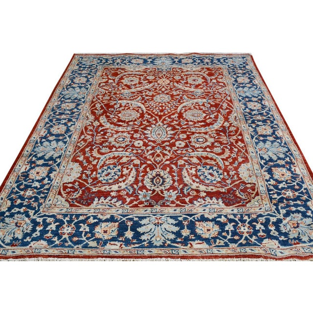 2010s Kafkaz Peshawar Abe Rust/Blue Hand-Knotted Rug - 6'0 X 7'11 For Sale - Image 5 of 8