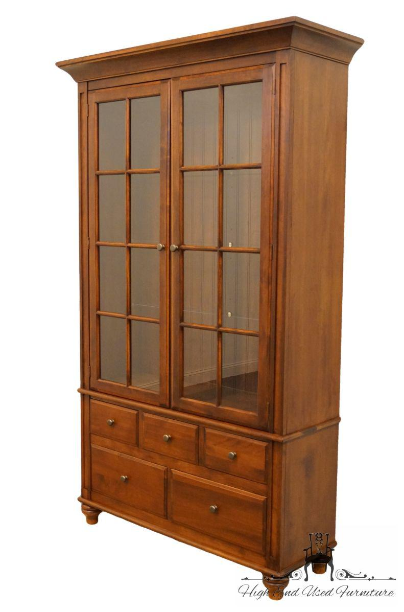 Country Nichols U0026 Stone Amherst Collection Solid Cherry Country French  Curio Display Cabinet For Sale