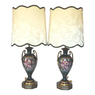 Vintage Benrose Forest Green Urn Lamps W/ Custom Shades - a Pair For Sale